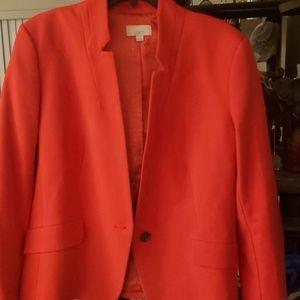 Loft red notch collar blazer size 12
